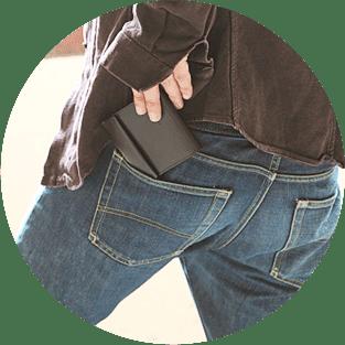 ズボンの後ろポケットに入る薄い財布