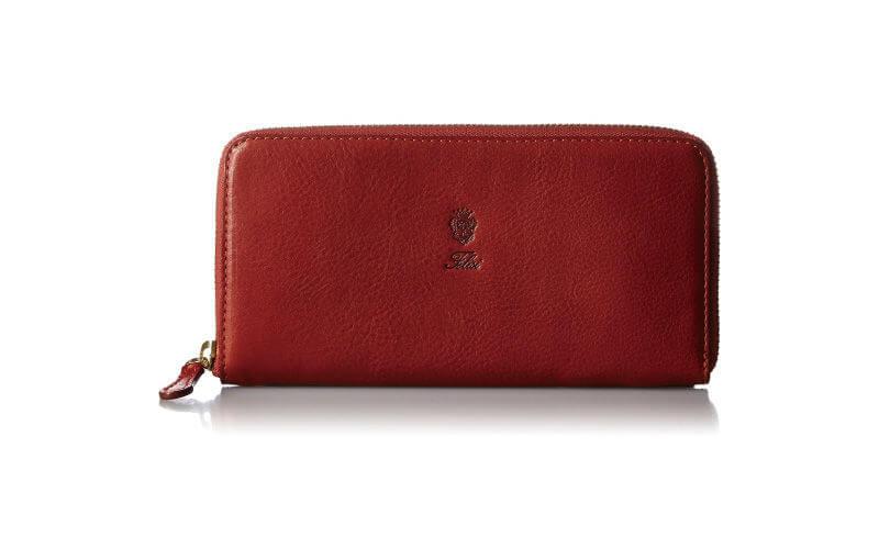 深みのあるレッドのフェリージのラウンドファスナー長財布