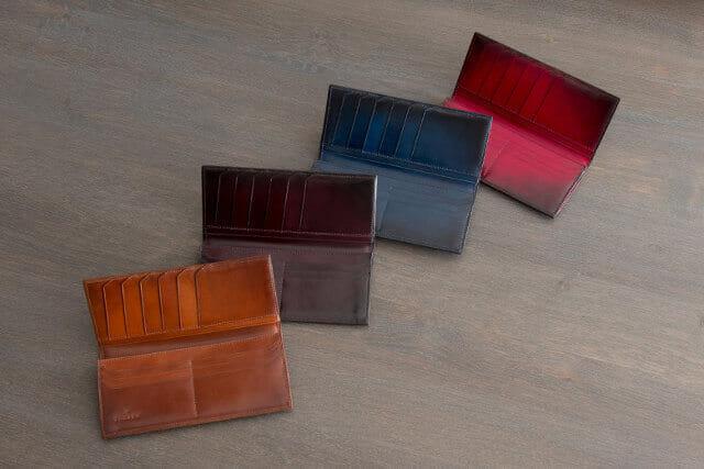 ユハクのグラデーション染の革財布