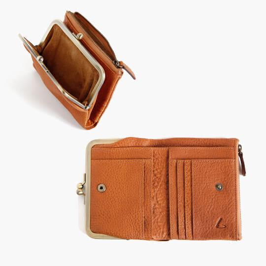 トーンオイルヌメ がま口ポケット財布(二つ折り)