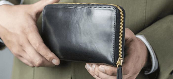 2位:SHELL CORDOVAN シェルコードバン ラウンドファスナー長財布
