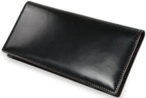 【SHELL CORDOVAN 2 】マチ無し長財布/ブラック