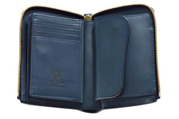 ファスナー付きの二つ折り財布