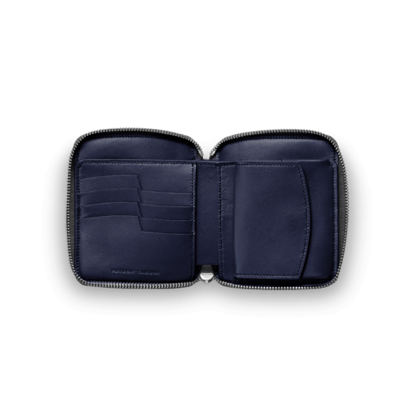 メゾンタクヤでおすすめのファスナー付き二つ折り財布:N_TT5 Wallet German Shrunken Calf×Lamb Midnight Blue×Midnight Blue