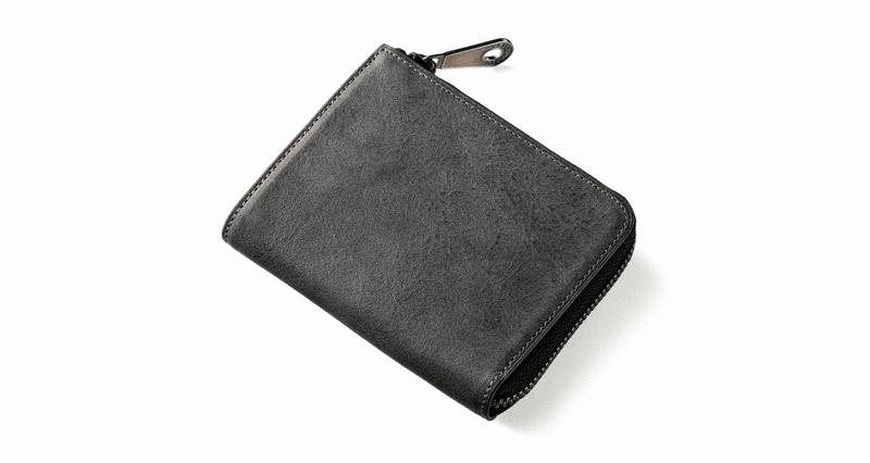 ファスナー付き二つ折り財布